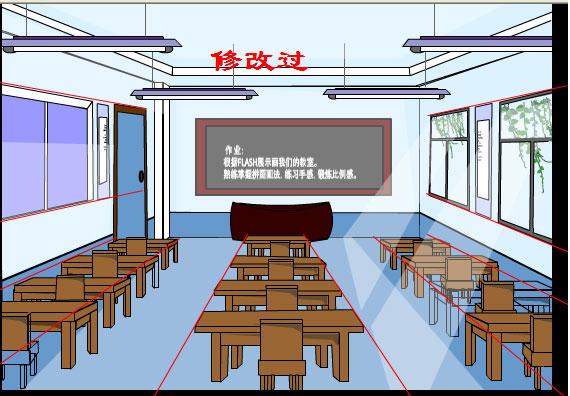 动漫教室课桌椅图片